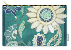 Carry-all Pouch featuring the painting Moroccan Paisley Peacock Blue 2 by Audrey Jeanne Roberts