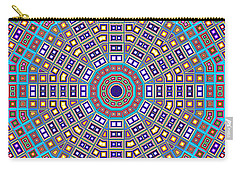 Carry-all Pouch featuring the digital art Mosaic Kaleidoscope  by Shawna Rowe