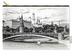 Moscow In Black And White Carry-all Pouch by Janis Knight
