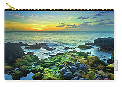 Carry-all Pouch featuring the photograph Moss Covered Rocks At Sunset In Molokai by Tara Turner