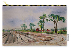 Carry-all Pouch featuring the painting Moss Landing Pine Trees Farm California Landscape 2 by Xueling Zou