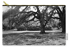 Moss Trees Black And White Carry-all Pouch