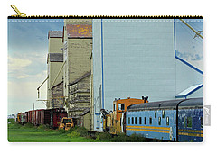 Carry-all Pouch featuring the photograph Mossleigh Elevators by Ann E Robson