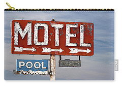 Carry-all Pouch featuring the photograph Motel And Pool Sign Route 66 by Carol Leigh