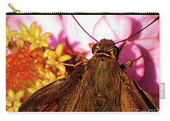 Moth On Pink And Yellow Flowers Carry-all Pouch