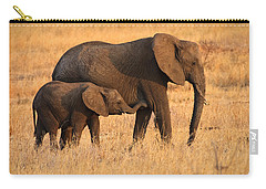 Mother And Baby Elephants Carry-all Pouch