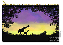 Mother And Baby Giraffe At Sunset Carry-all Pouch