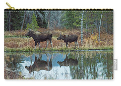 Carry-all Pouch featuring the photograph Mother And Baby Moose Reflection by Rebecca Margraf