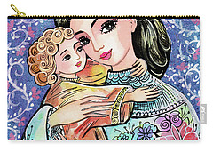 Carry-all Pouch featuring the painting Woman And Child In Flowers by Eva Campbell