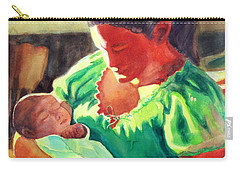 Carry-all Pouch featuring the painting Mother And Child In Red2 by Kathy Braud