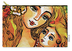 Carry-all Pouch featuring the painting Mother And Child In Yellow by Eva Campbell