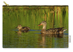 Carry-all Pouch featuring the photograph Mother And Child Mallards by Jean Noren
