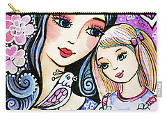 Carry-all Pouch featuring the painting Mother And Daughter In Blue by Eva Campbell