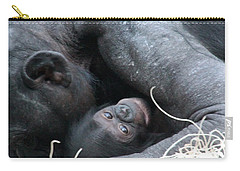 Carry-all Pouch featuring the photograph Mother Bonobo And Her Baby by Laurel Talabere
