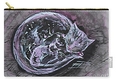 Carry-all Pouch featuring the painting Mother Cat With Kittens by Zaira Dzhaubaeva