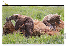 Mother Grizzly Suckling Twin Cubs Carry-all Pouch