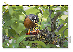 Mother Robin Feeding Her Young Carry-all Pouch