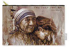 Carry-all Pouch featuring the painting Mother Teresa Of Calcutta  by Gull G