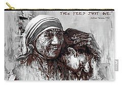 Carry-all Pouch featuring the painting Mother Teresa Of Calcutta Portrait  by Gull G