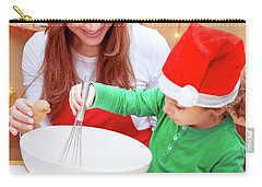 Mother With Son Baking Christmas Cookies Carry-all Pouch