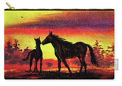 Carry-all Pouch featuring the painting Mother's Love - Two Horses by Irina Sztukowski