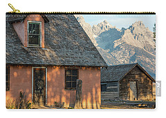 Carry-all Pouch featuring the photograph Moulton Homestead - Pink House At Morning Light by Colleen Coccia