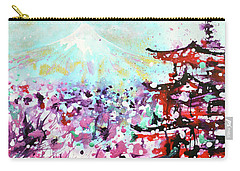 Carry-all Pouch featuring the painting Mount Fuji And The Chureito Pagoda In Spring by Zaira Dzhaubaeva