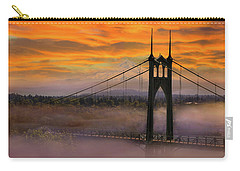 Mount Hood By St Johns Bridge During Sunrise Carry-all Pouch