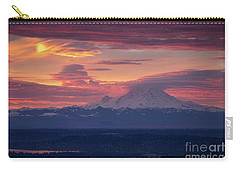 Mount Rainier Morning Fire Carry-all Pouch by Mike Reid