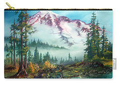 Carry-all Pouch featuring the painting Mount Rainier by Sherry Shipley