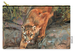Carry-all Pouch featuring the painting Mountain Lion 2 by David Stribbling
