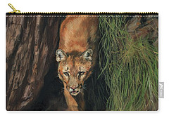 Carry-all Pouch featuring the painting Mountain Lion Emerging From Shadows by David Stribbling