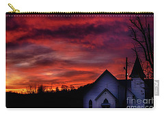 Carry-all Pouch featuring the photograph Mountain Sunrise And Church by Thomas R Fletcher