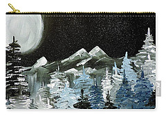 Carry-all Pouch featuring the painting Mountain Winter Night by Tom Riggs