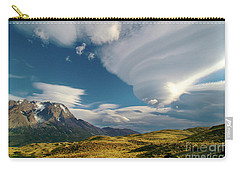 Mountains And Lenticular Cloud In Patagonia Carry-all Pouch