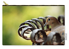 Mourning Dove In A Flower Planter Carry-all Pouch by Debbie Oppermann
