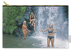 Carry-all Pouch featuring the photograph Mp-457 Fun At Honopu Falls Hi by Ed Cooper Photography