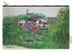 Carry-all Pouch featuring the painting Mt Adams Cincinnati Ohio With Title by Diane Pape