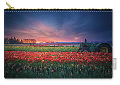 Carry-all Pouch featuring the photograph Mt. Hood And Tulip Field At Dawn by William Lee
