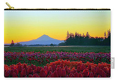 Mt. Hood Sunrise And Tulip Field Carry-all Pouch by Steve Warnstaff