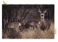 Mule Deer Mama And Twins Carry-all Pouch by Karen Slagle