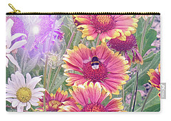 Multi Coloured Flowers With Bee Carry-all Pouch by Lynn Bolt