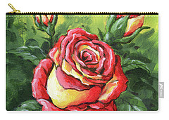 Multi Coloured Rose Sketch Carry-all Pouch