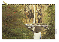 Carry-all Pouch featuring the mixed media Multnomah Falls by Angela Stout