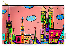 Carry-all Pouch featuring the digital art Munich Popart By Nico Bielow by Nico Bielow