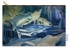 Carry-all Pouch featuring the painting Mural Skulls Of Lifes Past by Nancy Griswold