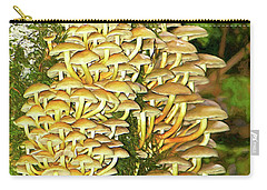 Carry-all Pouch featuring the photograph Mushroom Colony Photo Art by Sharon Talson