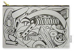 Carry-all Pouch featuring the drawing Mushroom Powered Engine 02 - Bellingham - Lewisham by Mudiama Kammoh