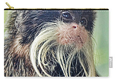 Mustache Monkey Watching His Friends At Play Carry-all Pouch by Jim Fitzpatrick
