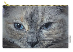Mustachioed Cat Carry-all Pouch by Karen Stahlros